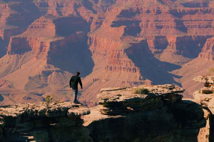 bird s eye view of a man on grand canyon mountain